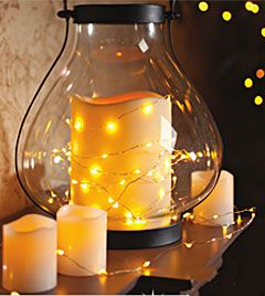 60 warm white led string lights battery operated timer. Black Bedroom Furniture Sets. Home Design Ideas