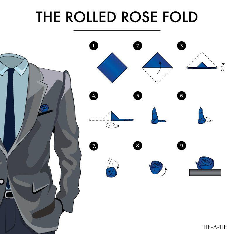 64445b2a61367 Rolled Rose Pocket Square Fold | Pocket Squares | Pocket square ...