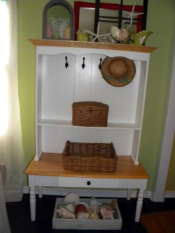 buffet with hutch made into hall seat with hooks