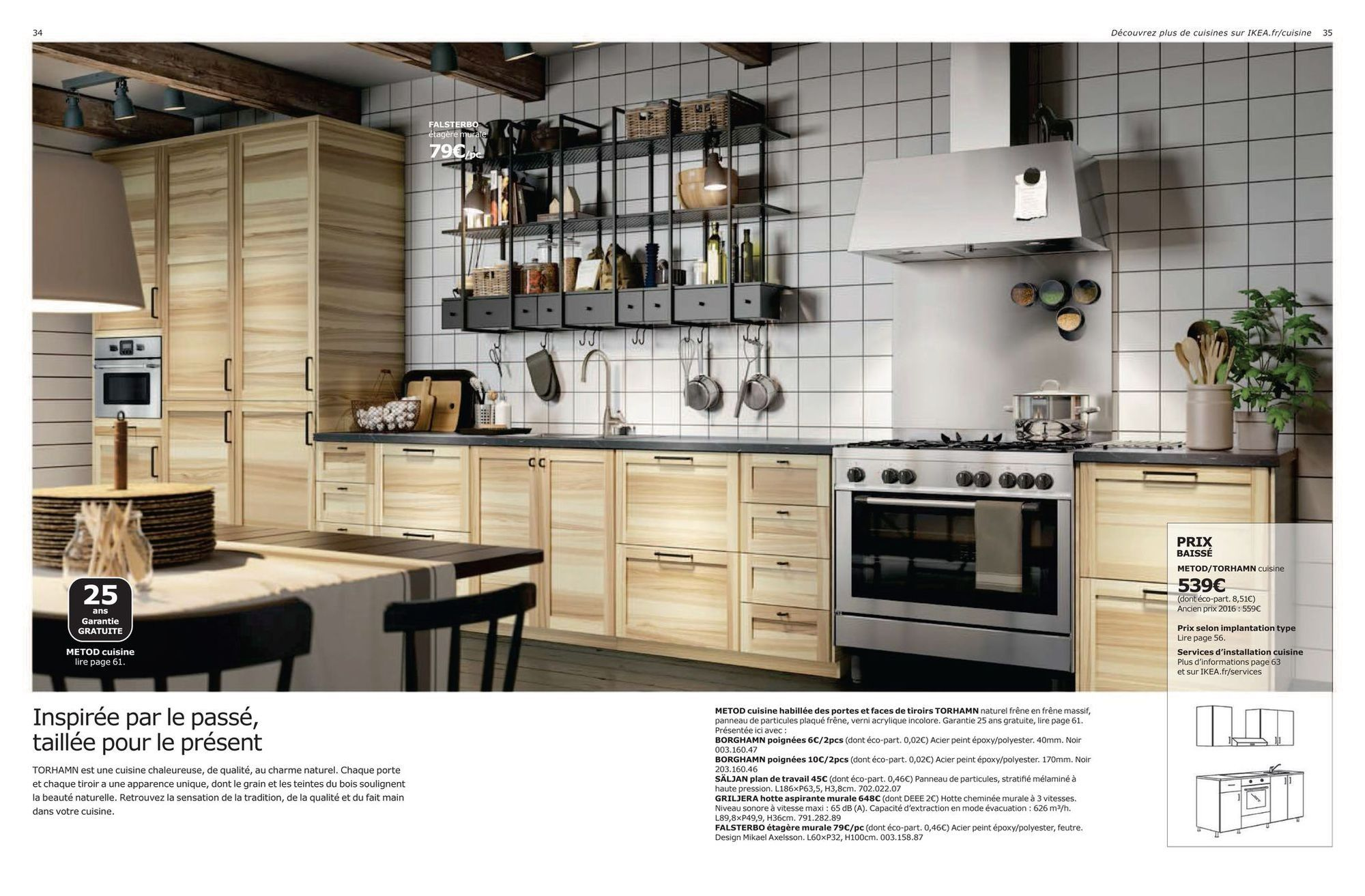 METOD kitchen dressed with doors and drawers TORHAMN natural ash