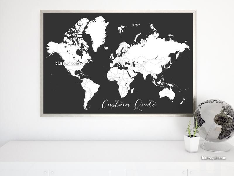 Custom quote world map with cities