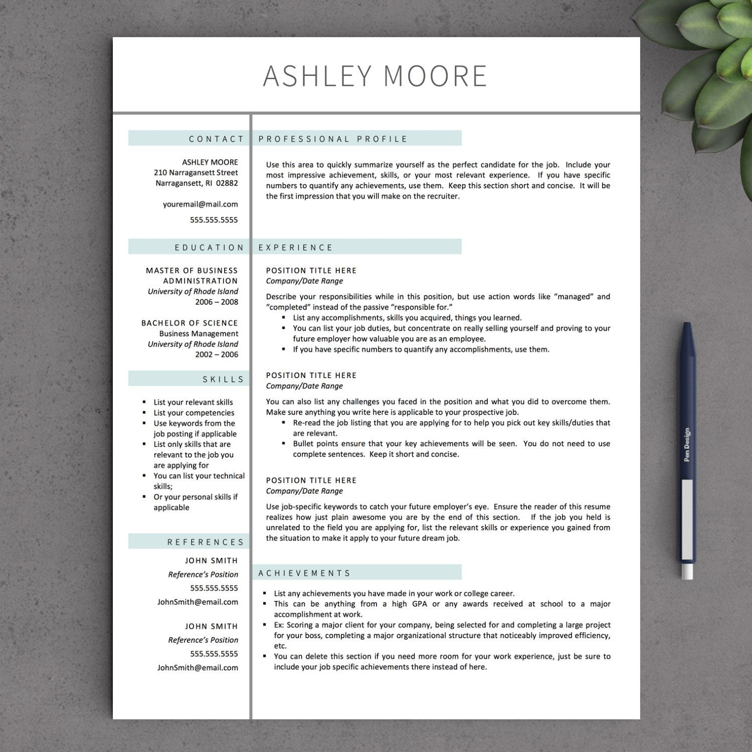 Modern Resume CV Template 1-3 Page Simple Resume Mac | Etsy