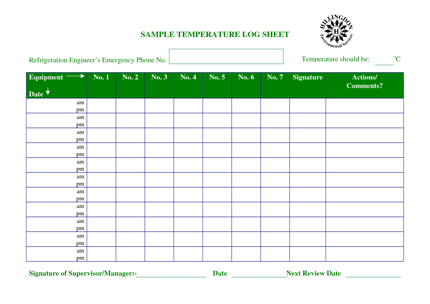 Temperature Log Sheet Template