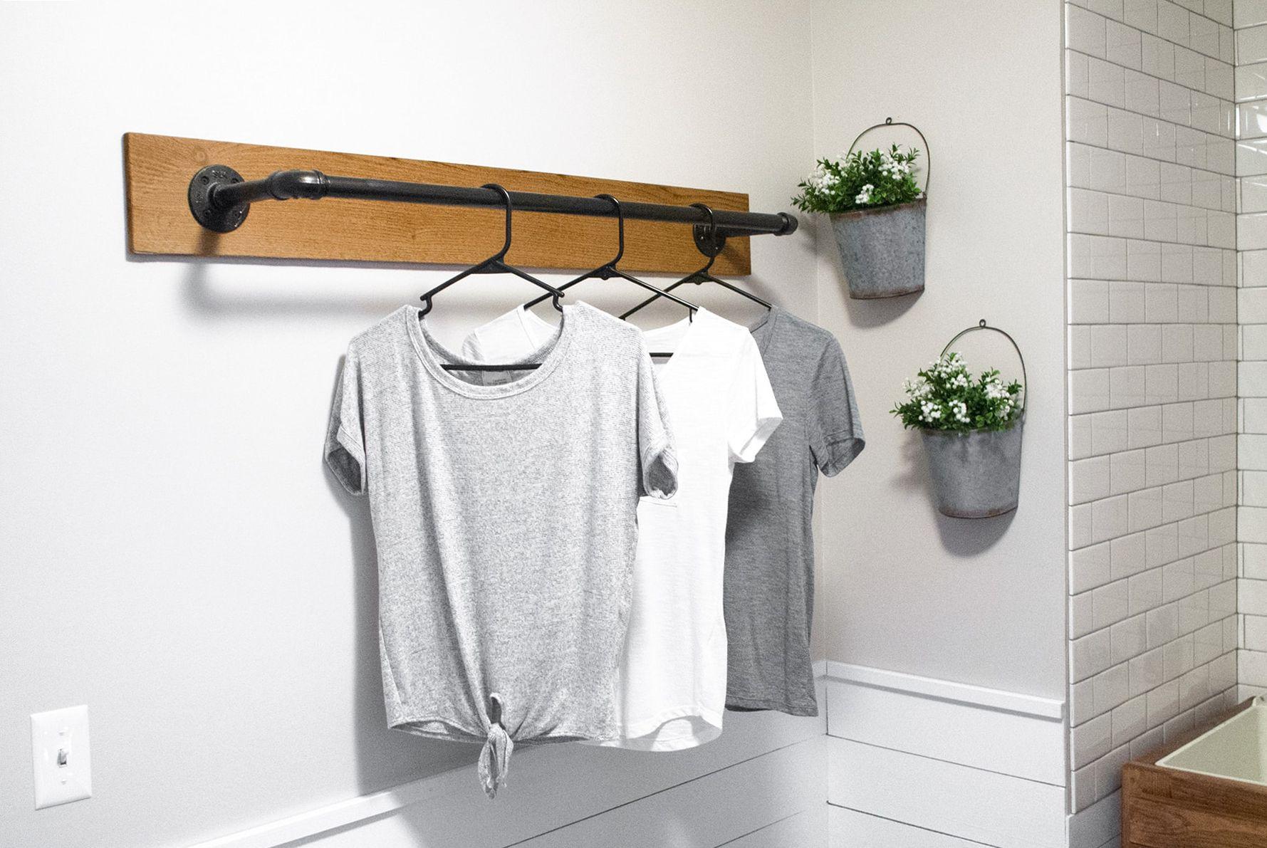 Diy wall mounted clothing rack diy wall wall mount and walls