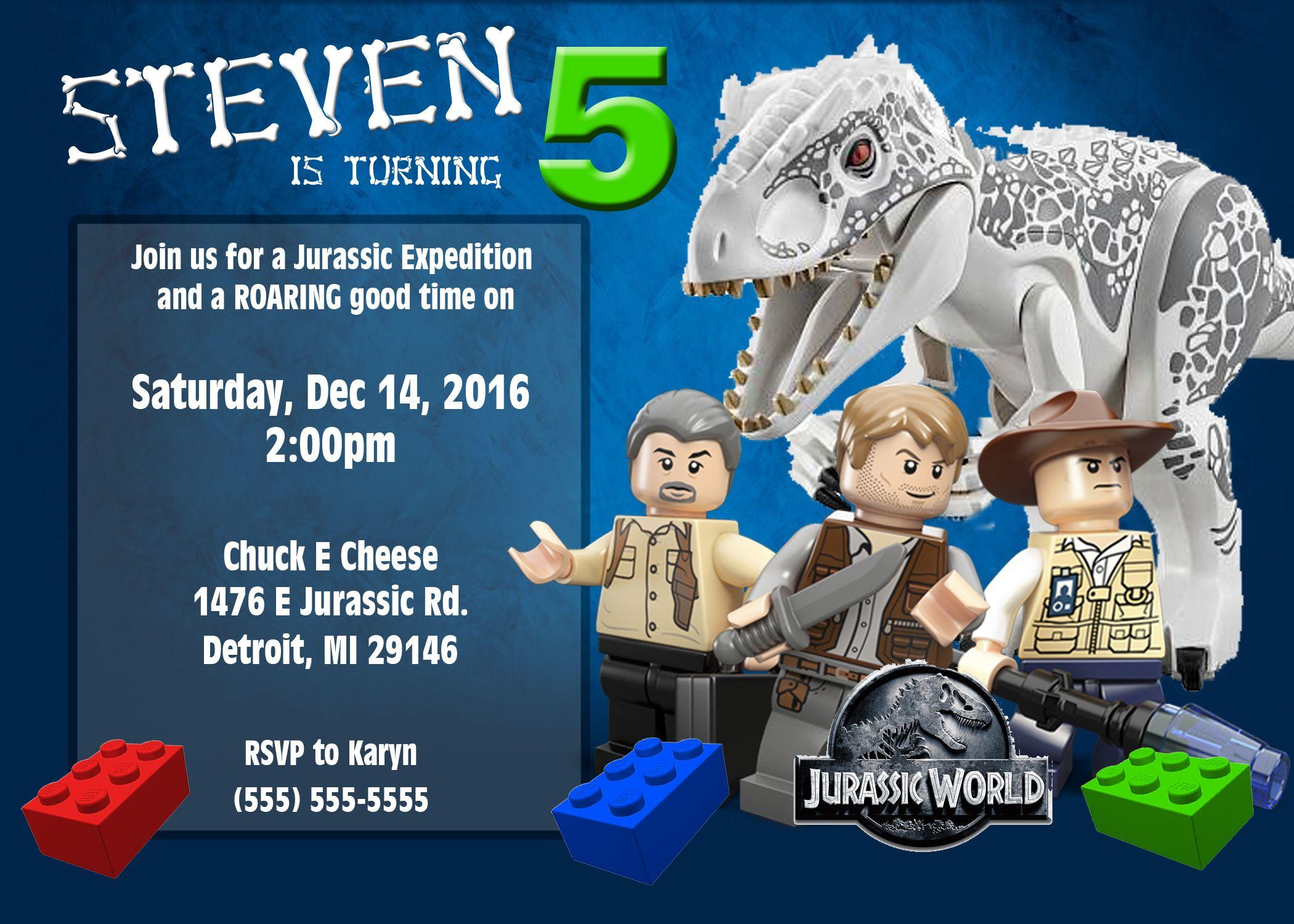Lego Jurassic World Birthday Invitations Lego Birthdays and