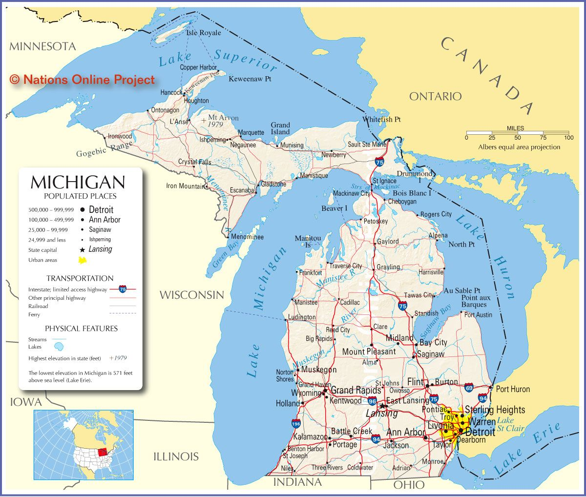 photograph relating to Printable Michigan Maps titled Reference Map of Michigan, United states of america - Countries On line Challenge