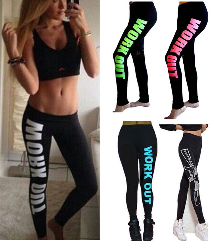 Women Cropped Yoga Fitness Leggings Running Gym Stretch Sports Pants Trousers US