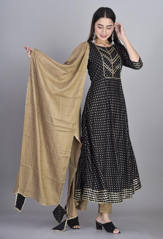 Indian Handmade Anarkali Rayon BLACK Color Kurti with plazzo And Dupatta Set Gift for Her Women kurti Designer Dress,christmas gift