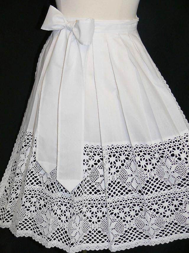 WHITE LACE APRON German Dirndl Oktoberfest Dress LONG Waitress XS S M L XL 2XL  | eBay