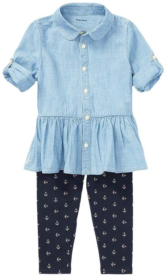904bd6d3ec Ralph Lauren Chambray Top Leggings Set Girl's Active Sets | Products ...