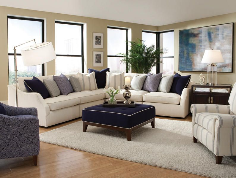Transitional Living Room With Coastal Vibe And Blue: Navy And Cream, I Love This Couch And Accent Colors
