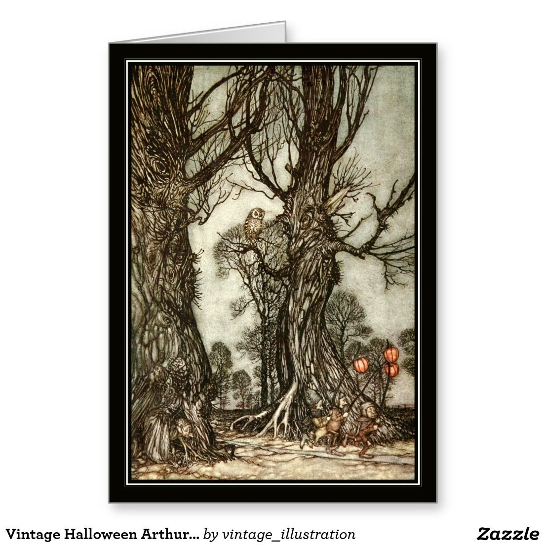 Vintage Halloween Arthur Rackham The Fairy Ball Greeting Card - Creepy Trees and Fairy Lanterns!