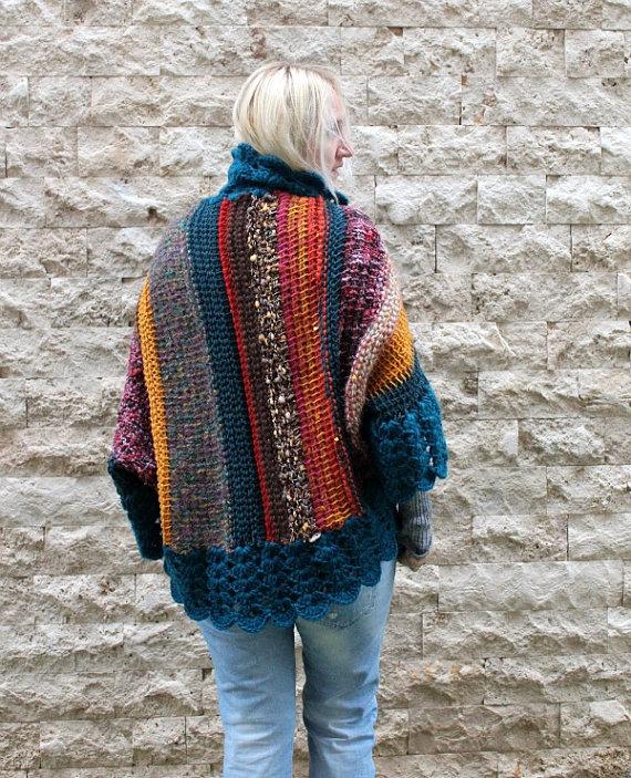 4d400a0c5a Bohemian Cardigan   Hand Knit Cardigan   Womens Knit Cardigan   Oversized  Shrug   Teal Cardigan   Ch