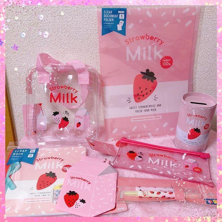 ダイソー購入品 やっと見つけたー いちごみるくグッズ ダイソー ダイソー購入品 ダイソー新商品 いちごみるく Pink ピンク大好き 100均 Daiso 可愛いものが好き ファンシー ゆめかわいい ゆめかわ Yumekawaii いちご ミルク イラスト 見つけた