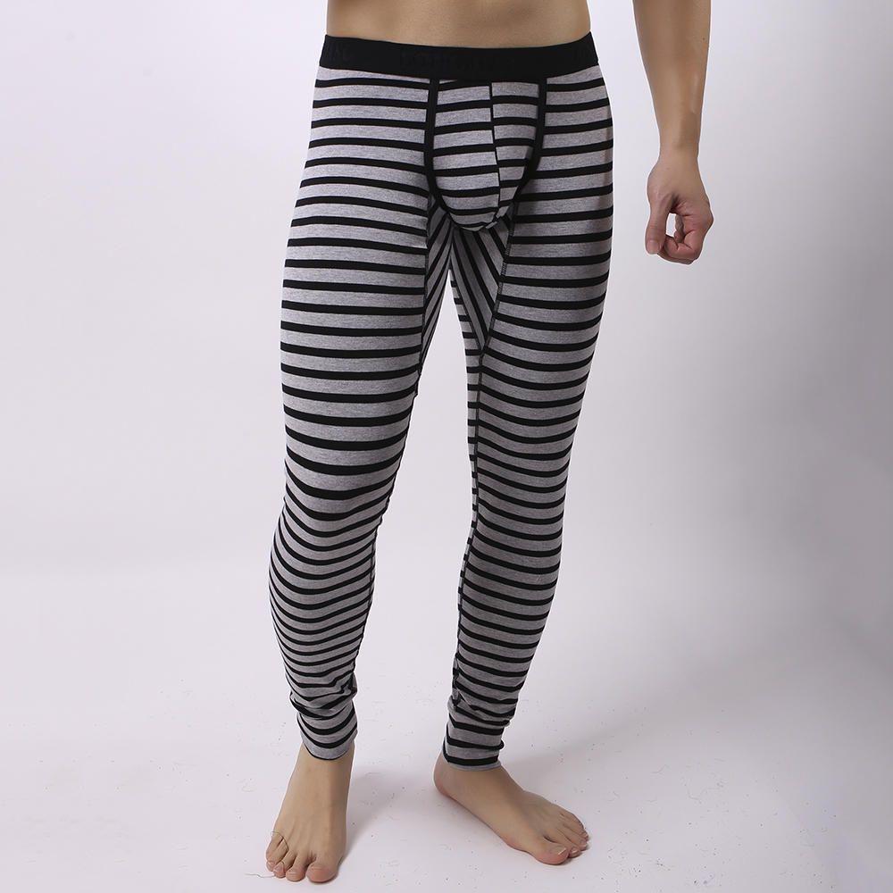 adf53420ff4 Mens Fall Winter Striped Thermal Pants Long Johns Pajamas in 2019 ...