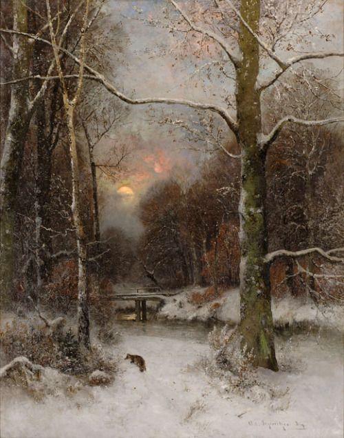 laclefdescoeurs    Verschneite Flußlandschaft mit sicherndem Fuchs, Adolf Gustav Schweitzer