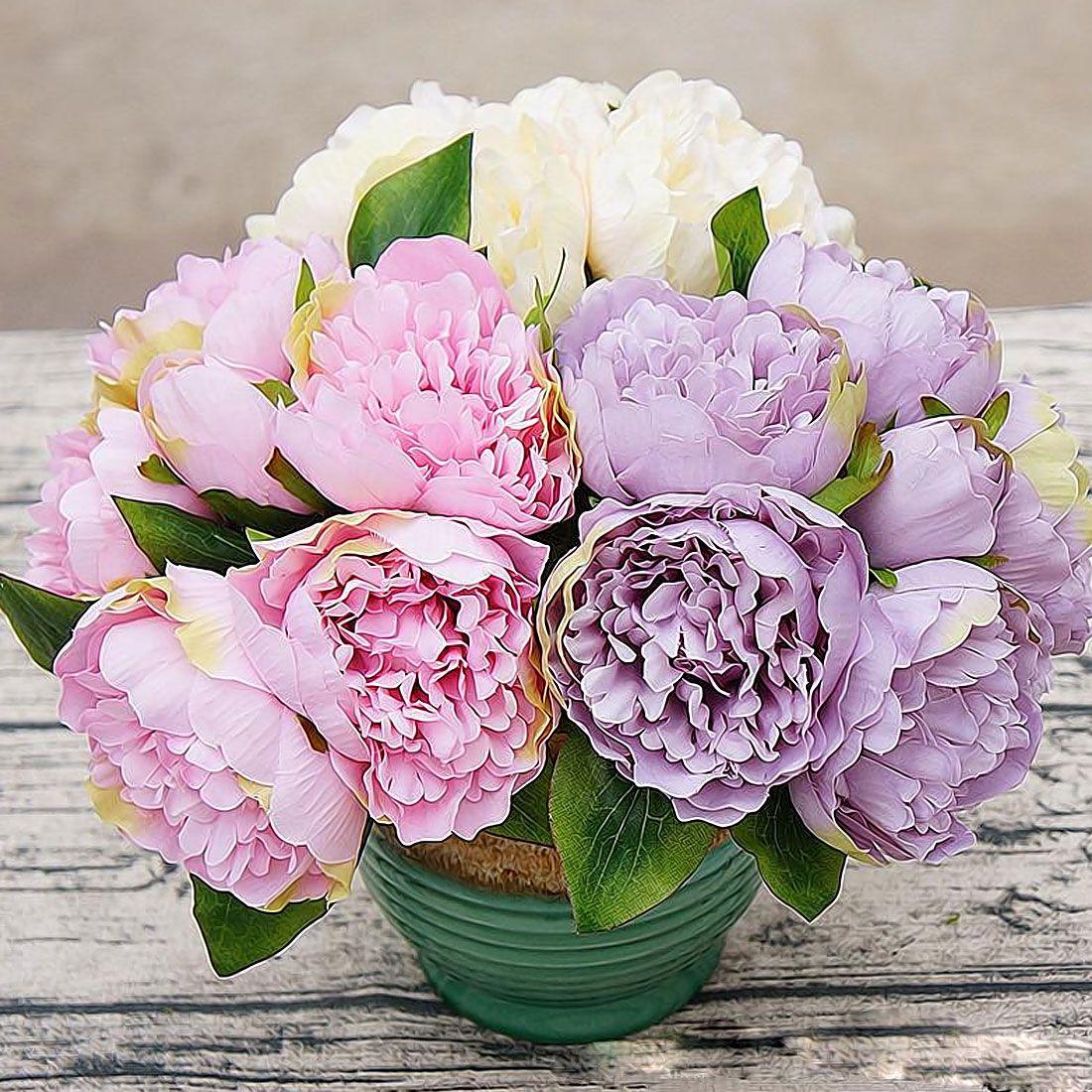 Peony Dahlias Artificial Flowers 6 Heads Silk Flower Wedding Bouquet ...
