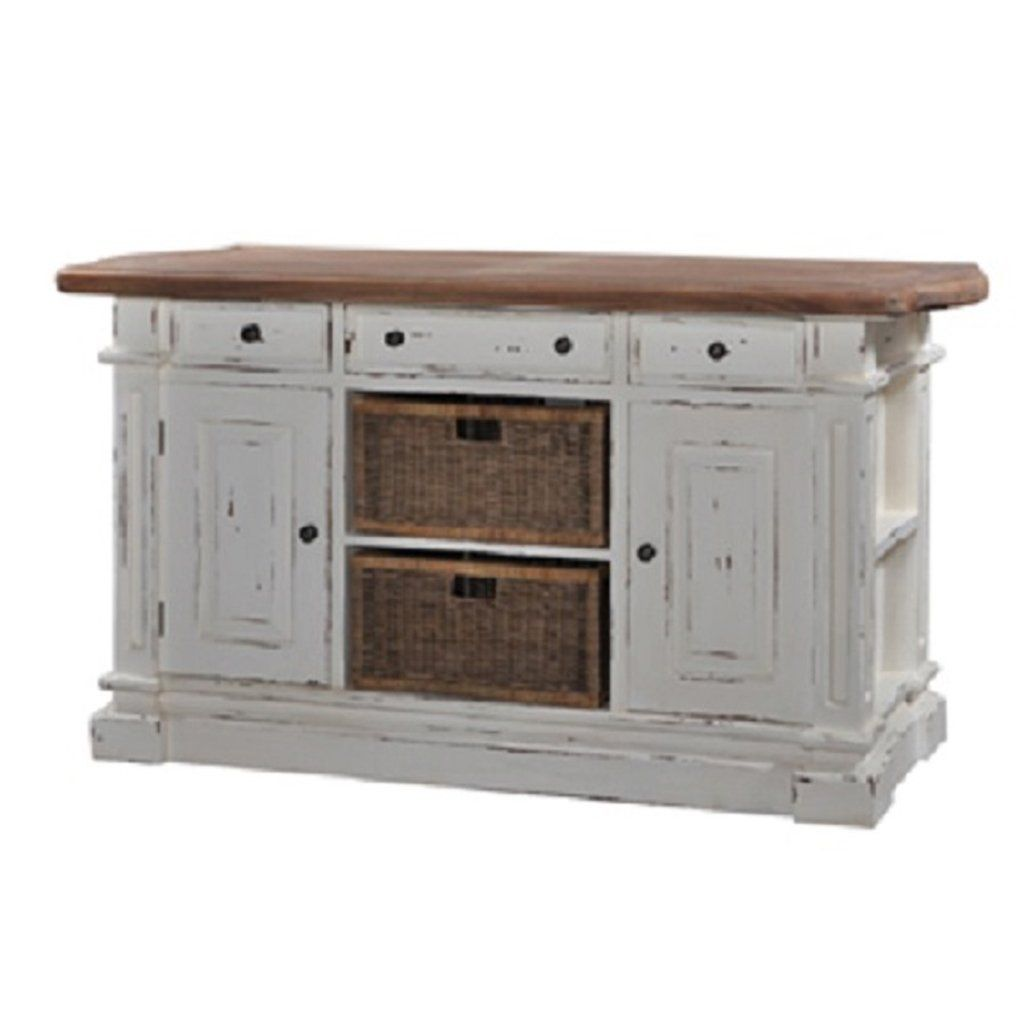 Double Baskets White Distressed Driftwood Top Kitchen Island In
