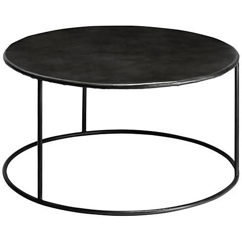 Americana 32 Wide Round Iron Coffee Table By Jamie Young 11r13