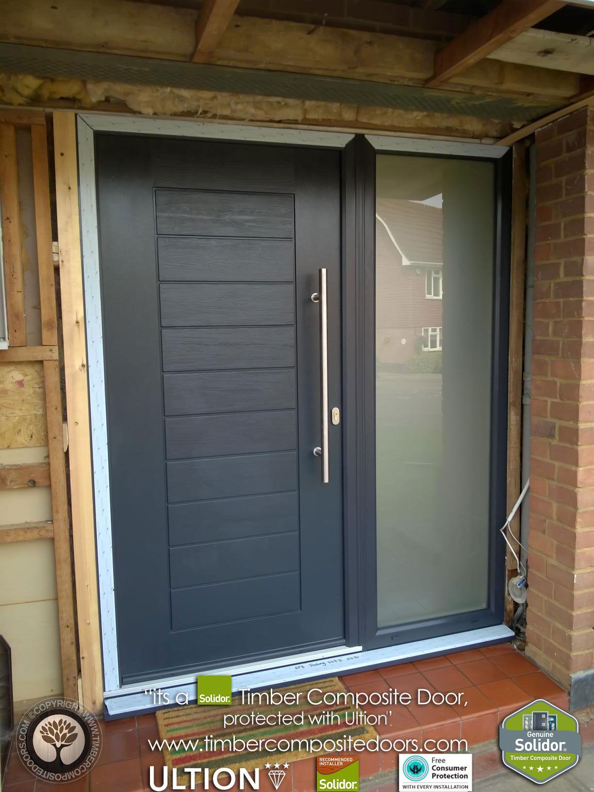 Anthracite Grey Palermo Solidor Timber Composite Door 56 Entryway