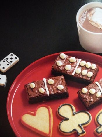 Game Night Themed Party Domino Brownies And Playing Card Suites Cookies
