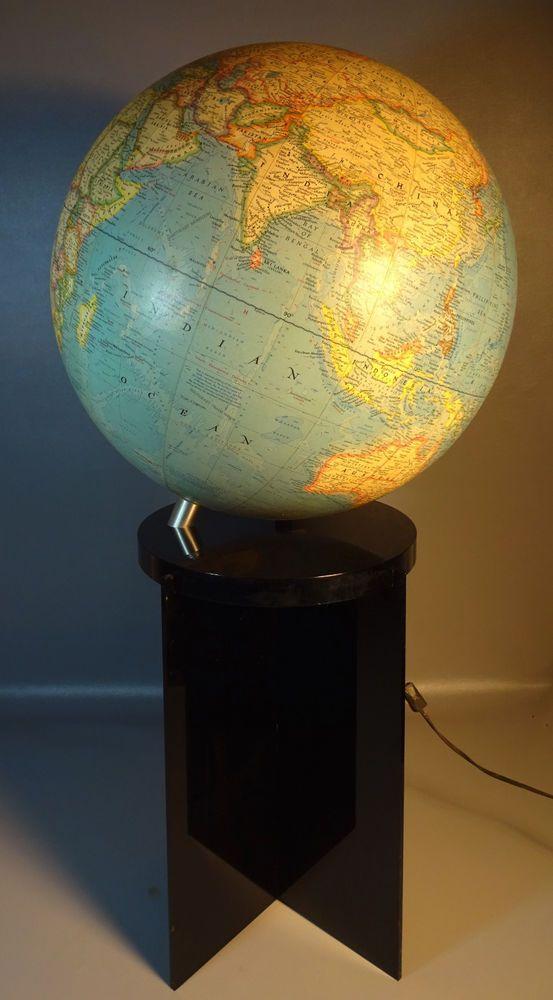 14u201d World Globe On Lucite Floor Stand