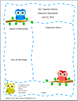 teacher newsletter template primary owls theme from