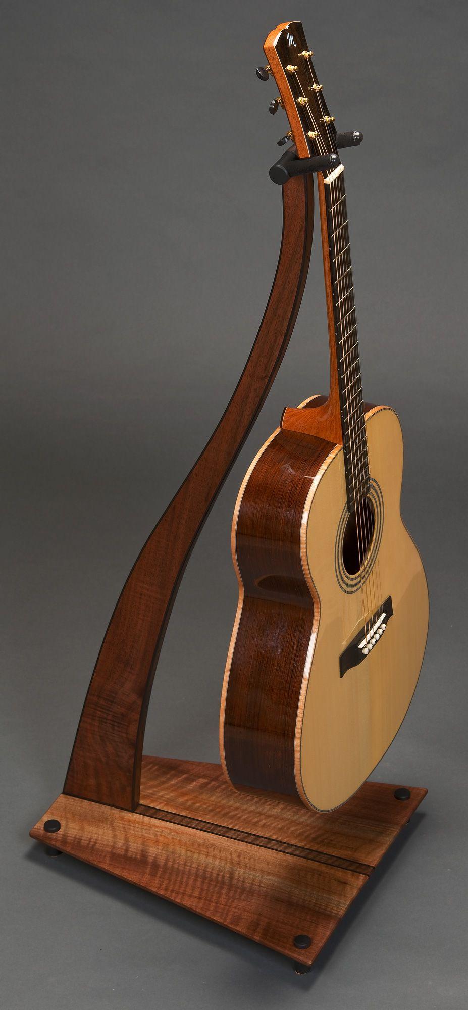 Guitar Stand Designs : Sm design guitar stand claro walnut with double ebony
