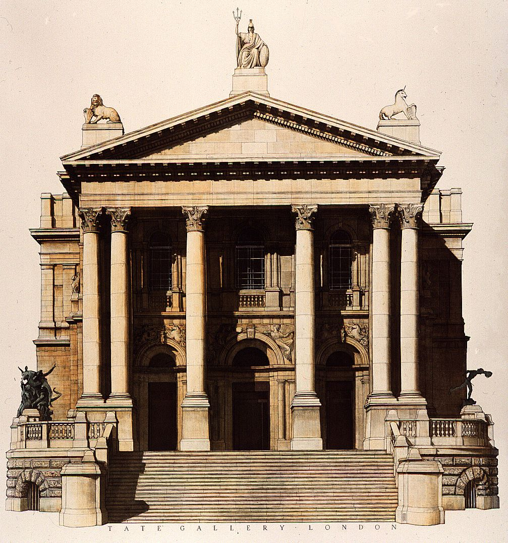 The Classical Greek Temple front of the #Tate Gallery, London Opened in 1897 on site of former Millbank Prison. Designed by Sidney R.J. Smith. artist Andrew Ingamells, Aquatint etching