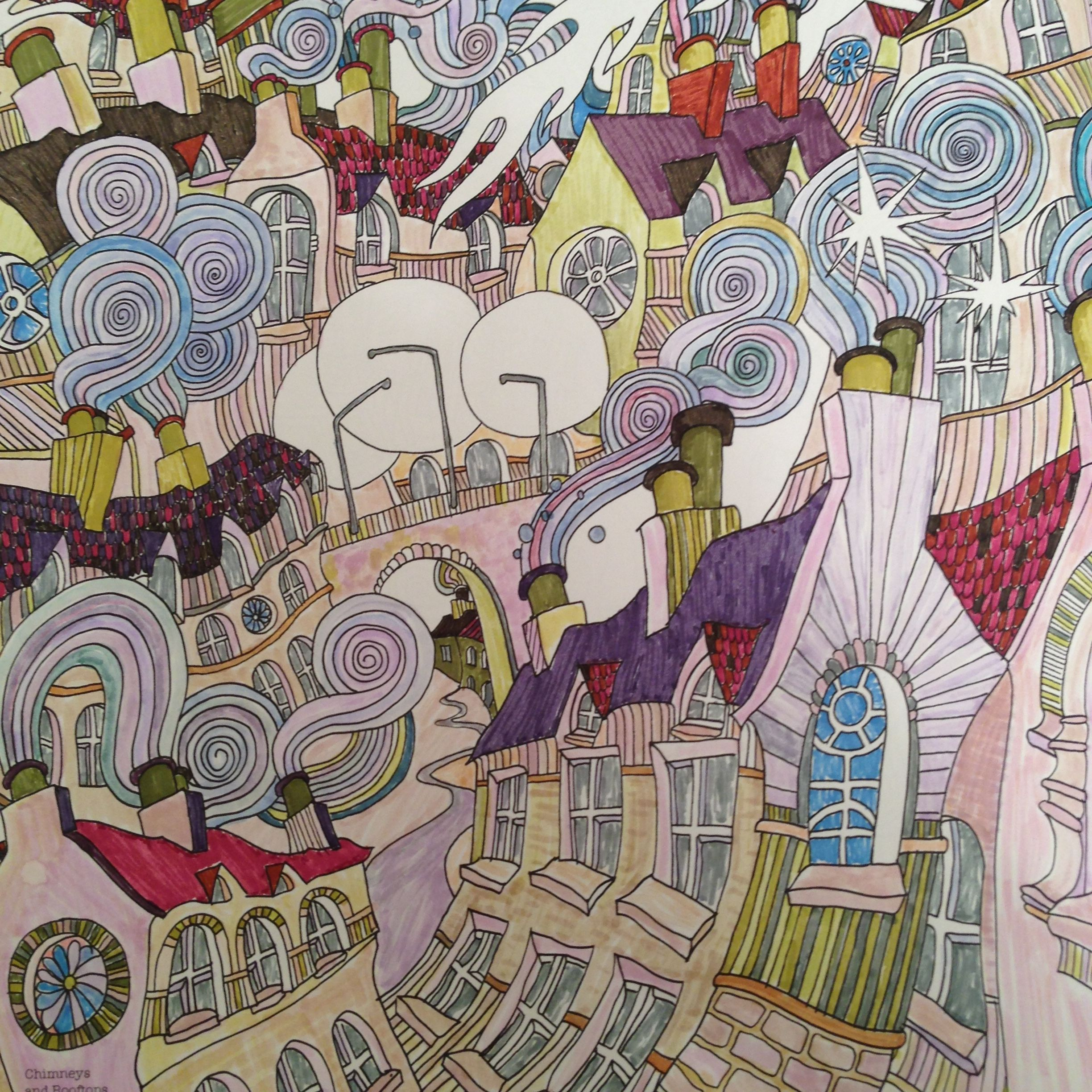Th the magical city colouring in book - Chimneys And Rooftops From The Magical City Colouring Book By Lizzie Mary Cullen Coloured