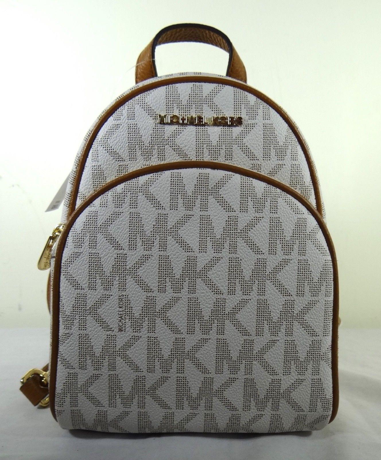 bc75329a4b45 MICHAEL Michael Kors Abbey MK LOGO Vanilla XS Mini Backpack ...