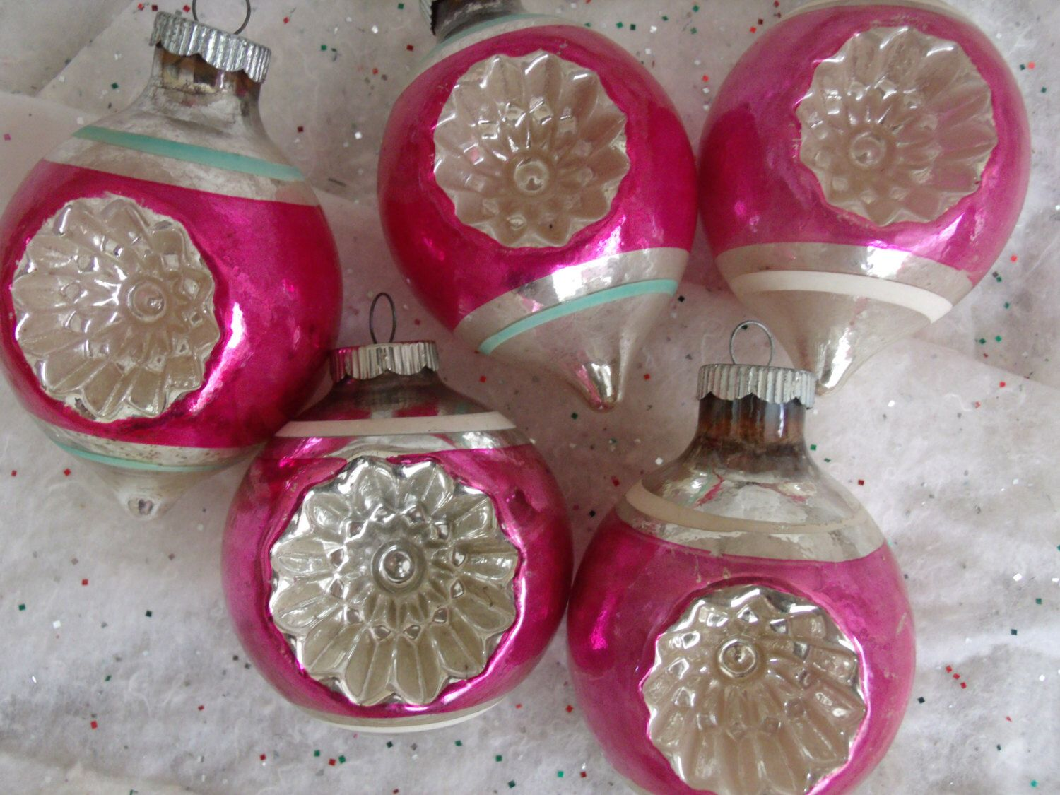 Vintage Glass Christmas Ornaments, WWII Ornaments Lot, Vintage Pink Striped Double Indent Ornament Lot by greatvintagefun on Etsy https://www.etsy.com/listing/243519630/vintage-glass-christmas-ornaments-wwii