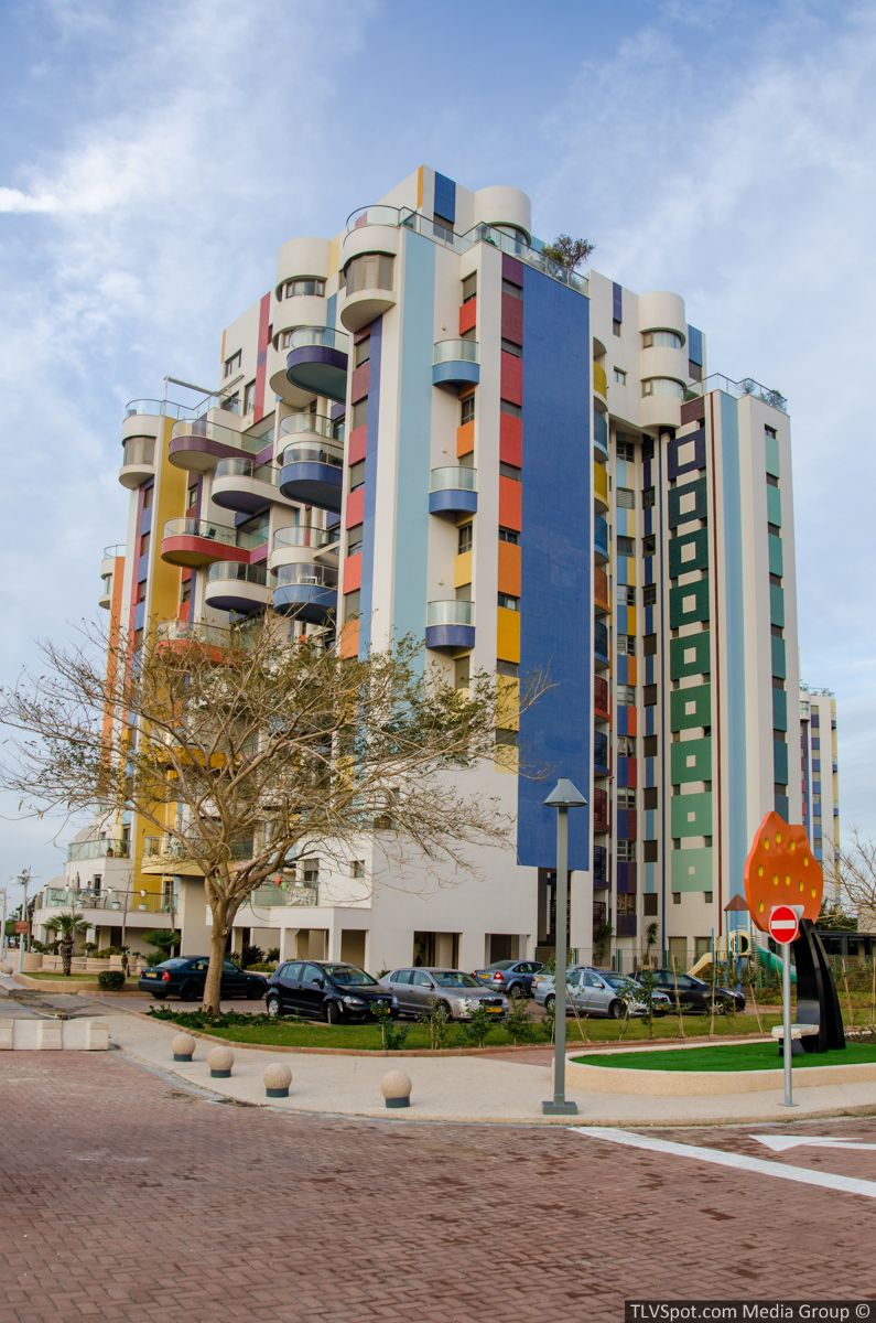 Michael Neeman Towers in Tel Aviv designed by Yaacov Agam, Israeli sculptor and experimental artist best known for his contributions to kinetic art