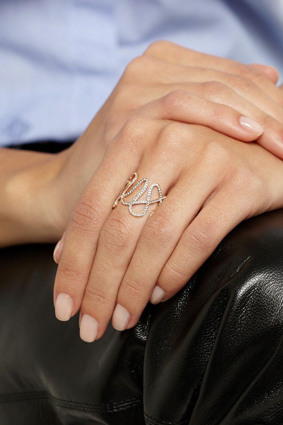 White noise karat rose gold diamond ring repossi on neta