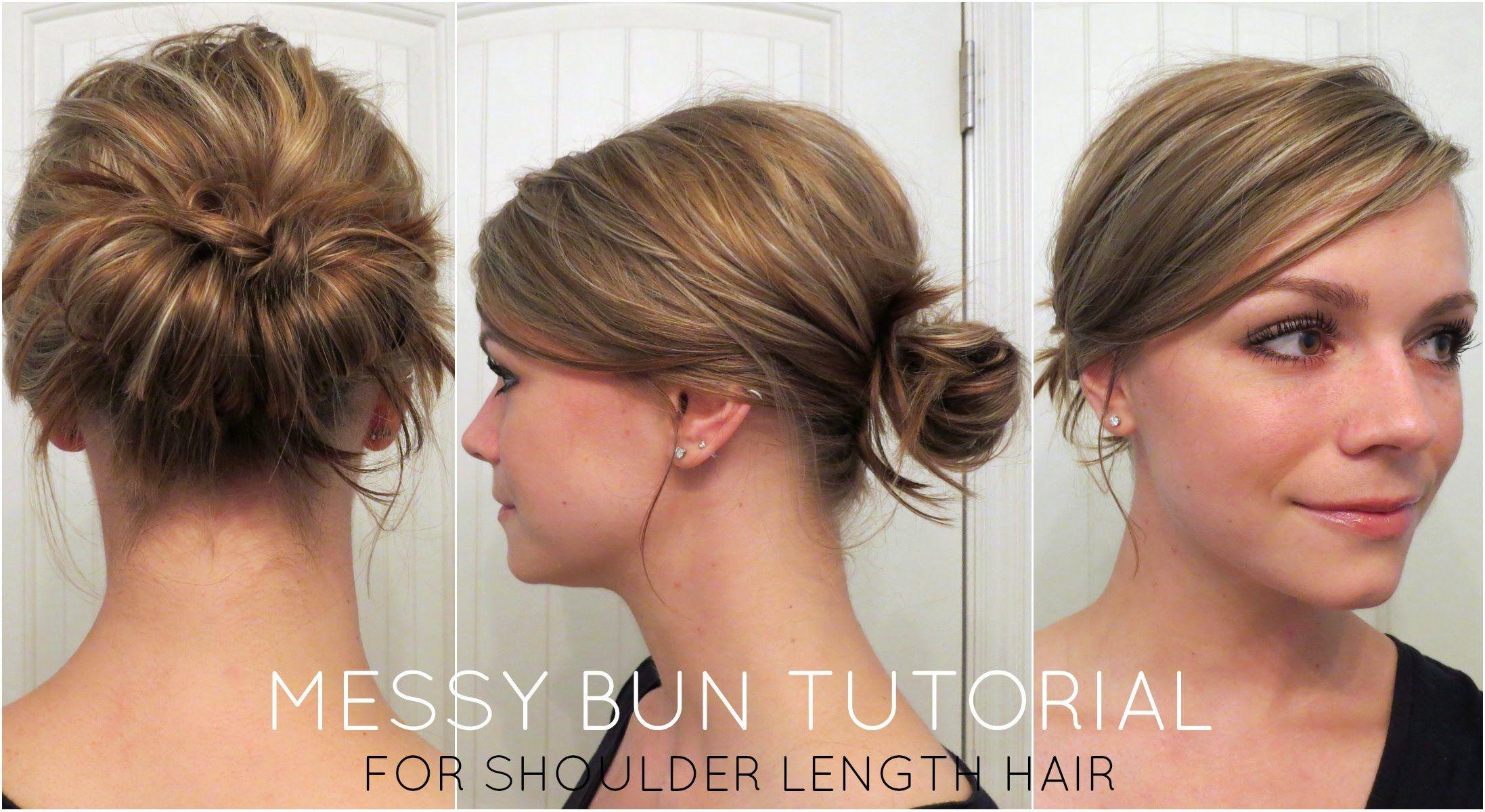 Messy Bun For Shoulder Length Hair Medium Hair Styles Shoulder Length Hair Hair Lengths