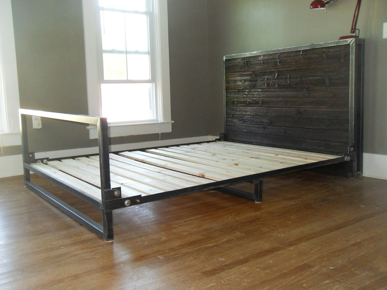Steel And Reclaimed Wood Bed 1 750 00 Via Etsy