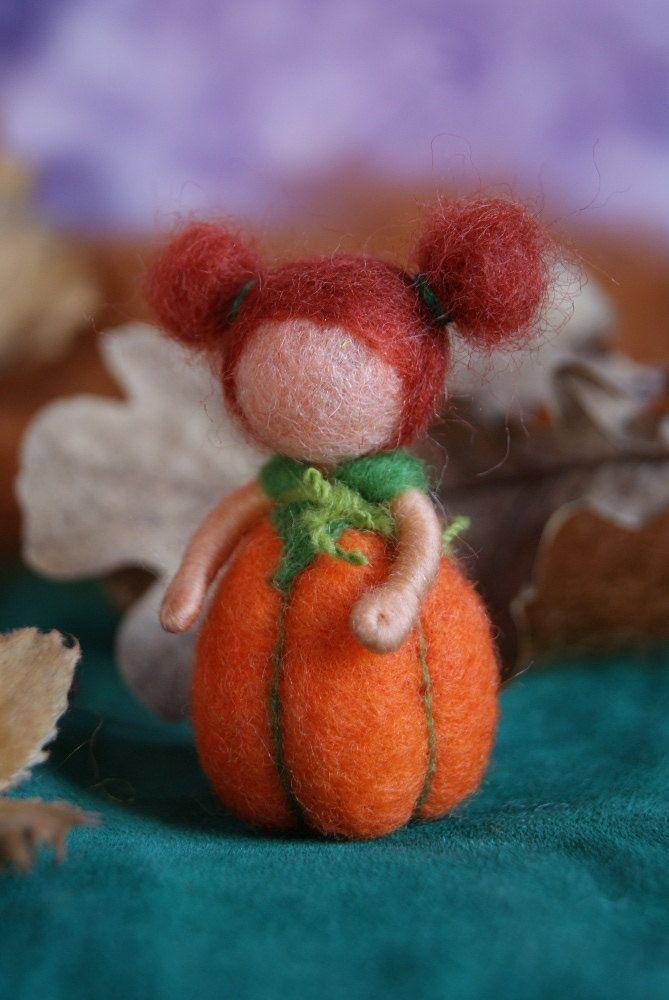 Pumpkin baby - felted, waldorf inspired #dollsneedlefelt