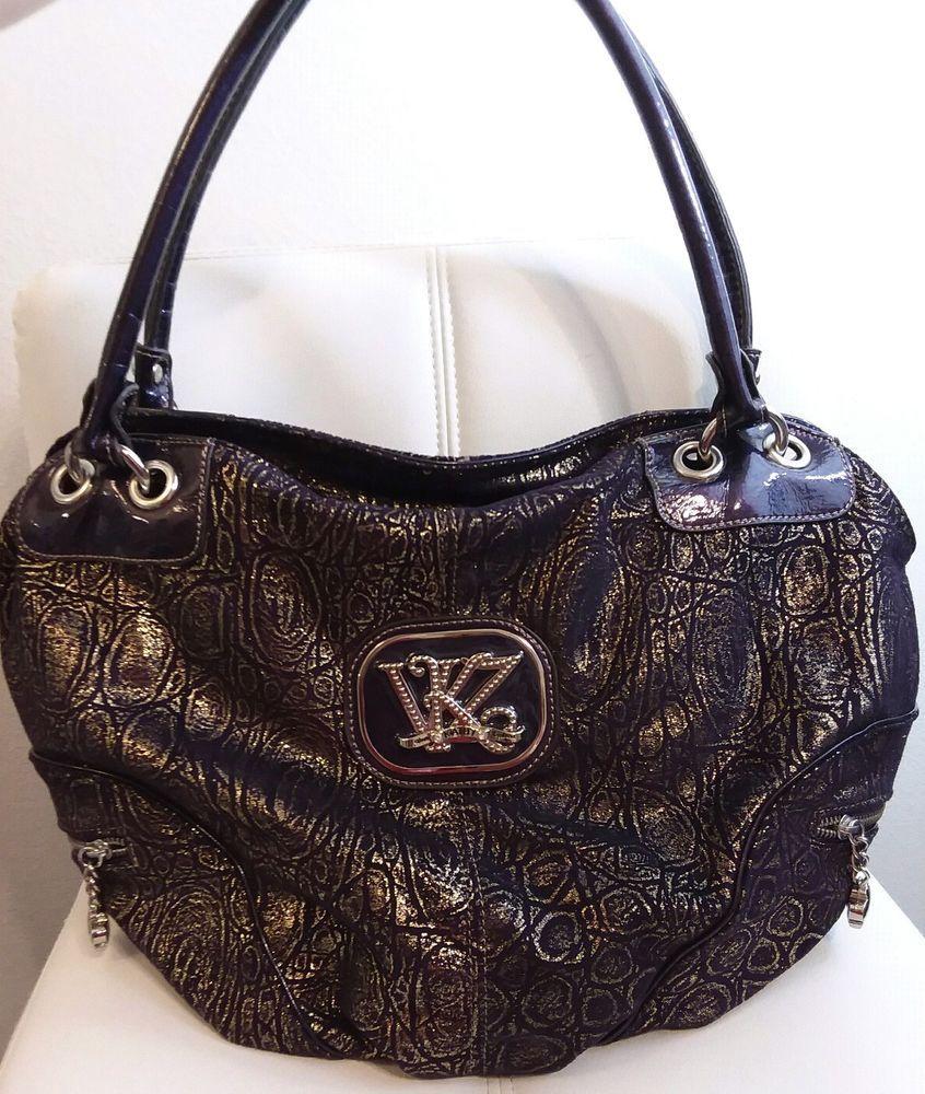 b19cce773 kathy van zeeland purple and gold hobo shoulder bag | DESIGNER BAGS ...