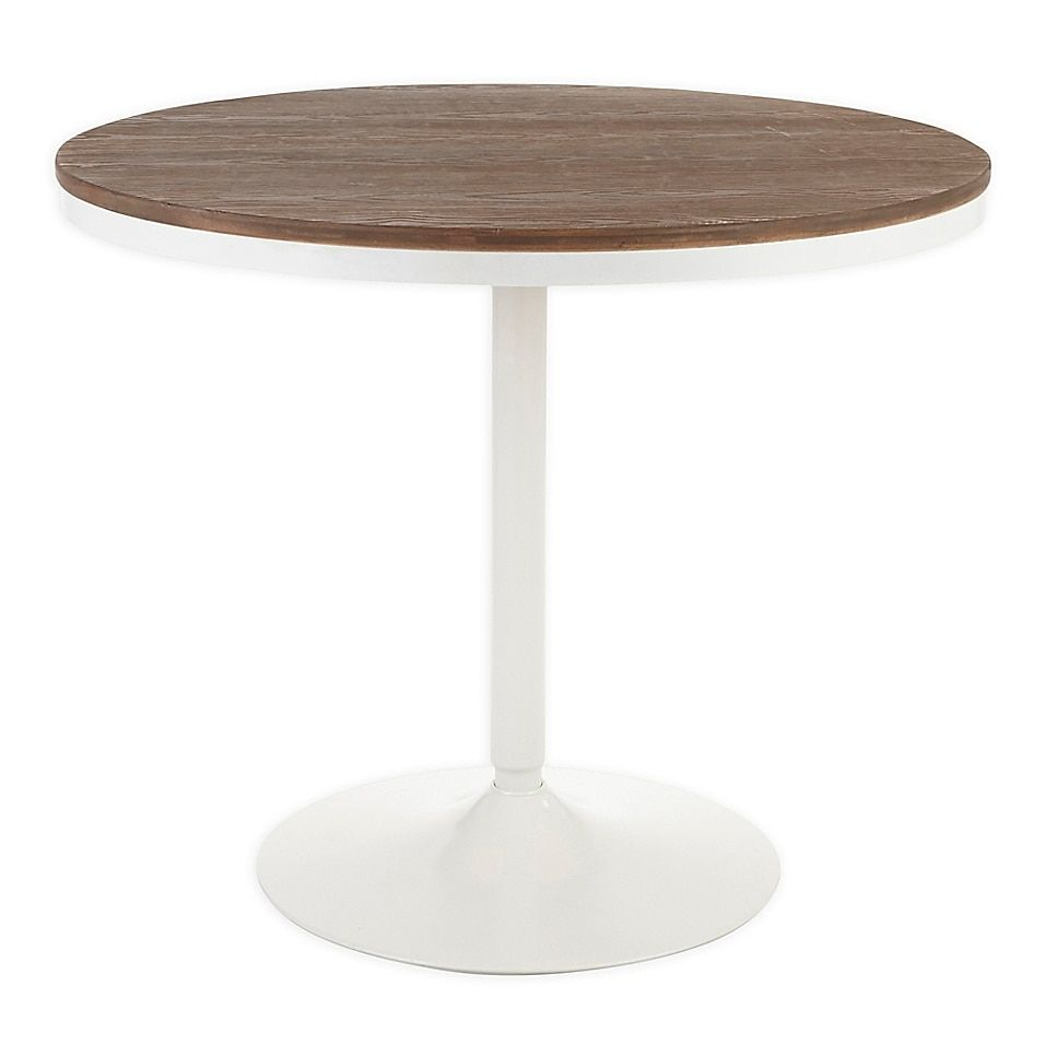 Lumisource Dakota 36 Inch Round Bamboo Steel Dining Table Bed Bath Beyond Metal Leg Dining Table Steel Dining Table Industrial Dining Table