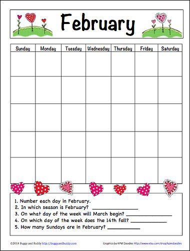 february learning calendar for kids free printable educational blogs and blog posts. Black Bedroom Furniture Sets. Home Design Ideas