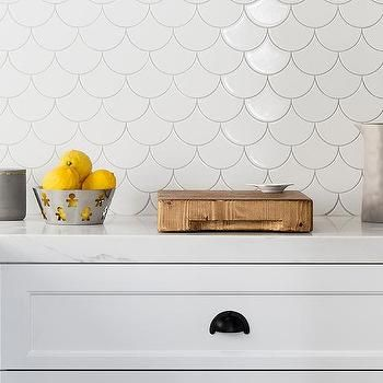 White Kitchen Cabinets With White Fan Tiles White Fish Scale Tile Fish Scale Tile Bathroom Fish Scale Tile