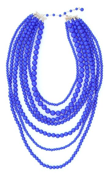 Back in stock! We love this color! | Cobalt Seven Layer Necklace | jewelboxonline.com