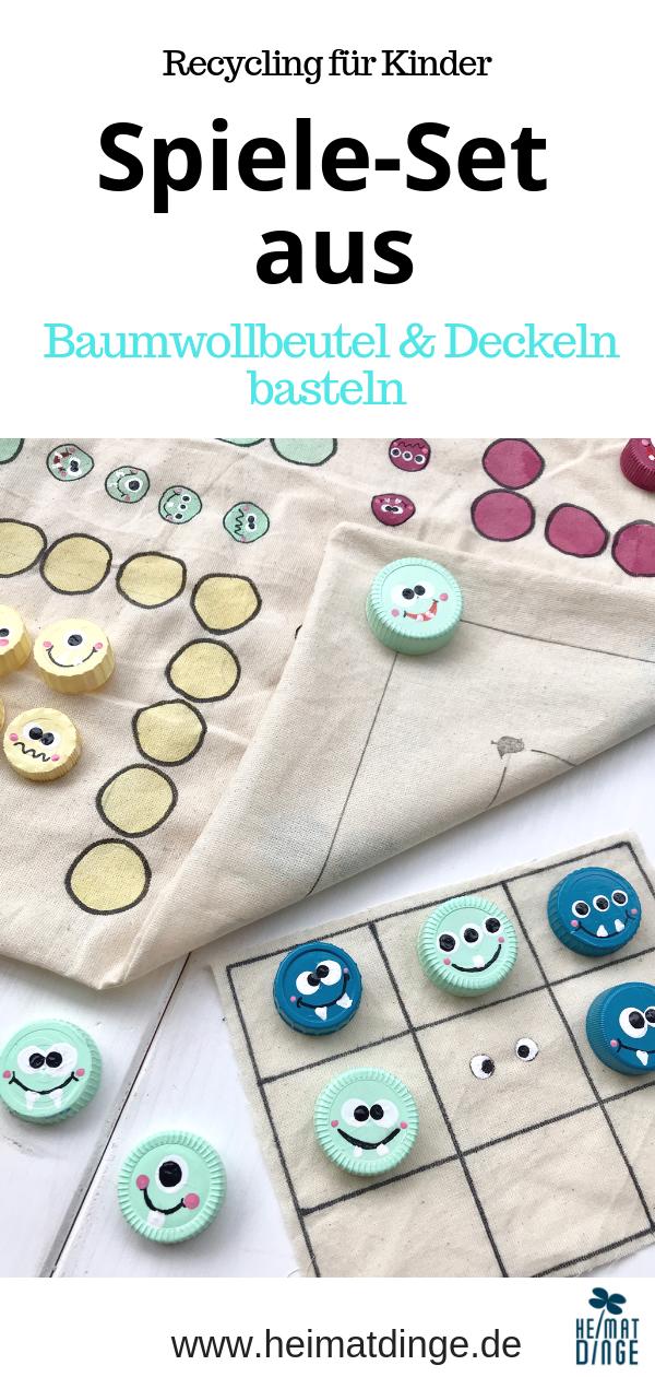 Spiele selber basteln: 3-in-1 Kinderspiele Set aus alter Baumwolltasche