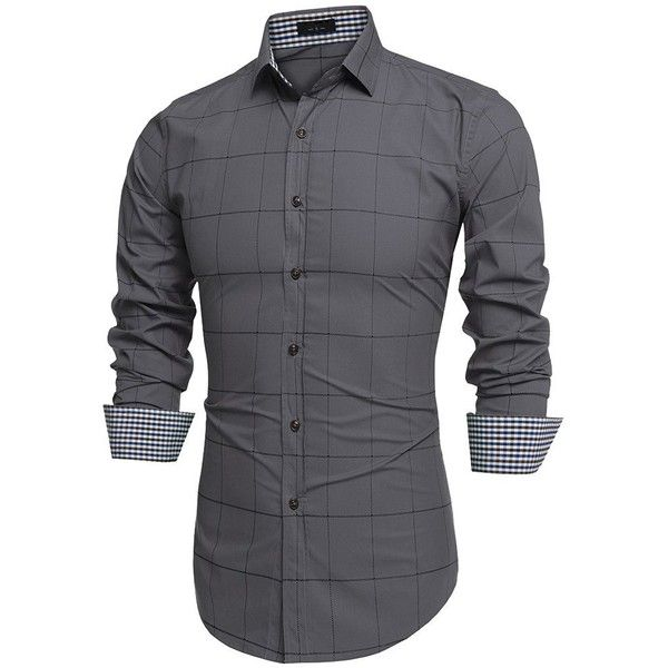 Men's Long Sleeve Plaid Slim Fit Button Down Dress Shirt ($27) ❤ liked on Polyvore featuring men's fashion, men's clothing, men's shirts, men, mens tops, mens button up shirts, mens slim shirts, mens long sleeve plaid shirts, mens slim fit dress shirts and mens plaid shirts