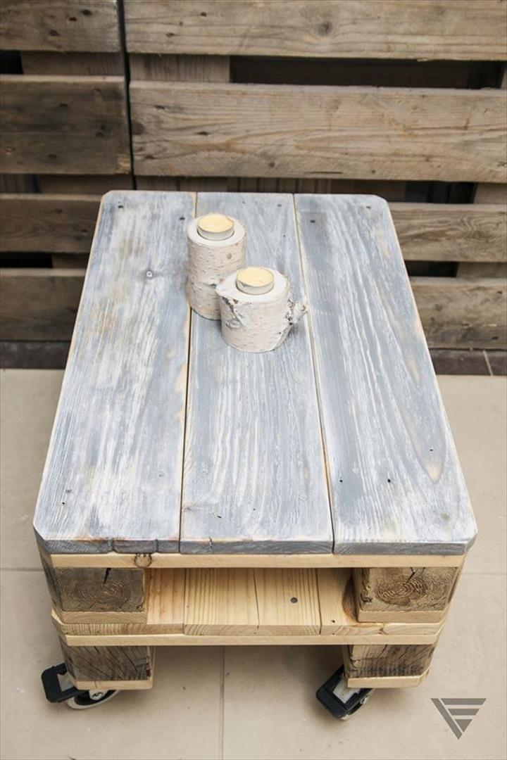 Euro Pallet Coffee Table On Wheels 99 Pallets Couchtisch Mit