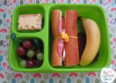 Simple bento lunch. Goodbyn Hero lunchbox, leaf picks and silicone wrap bands all available in NZ from www.thelunchboxqueen.co.nz