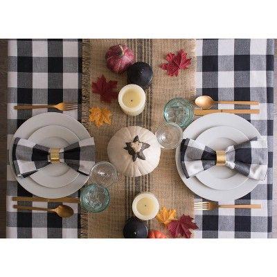 104 X60 Buffalo Check Tablecloth Black White Design Imports In 2021 Buffalo Check Tablecloth Table Cloth Design Imports