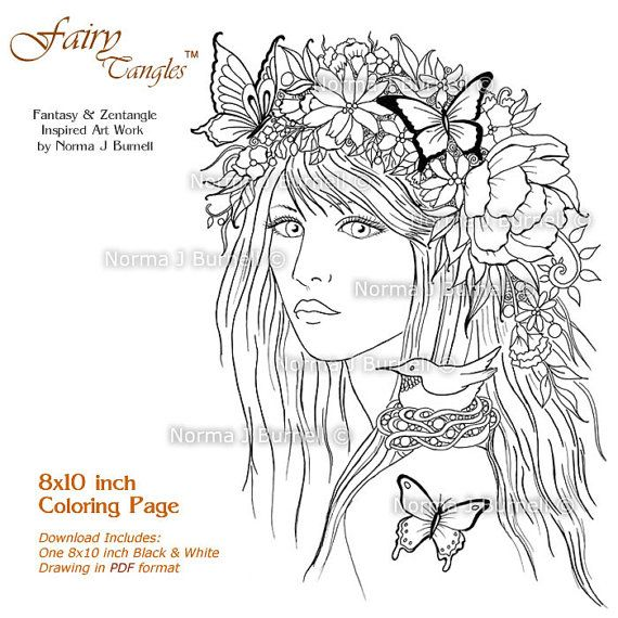 Pin On Fairy Tangles Coloring For Adults