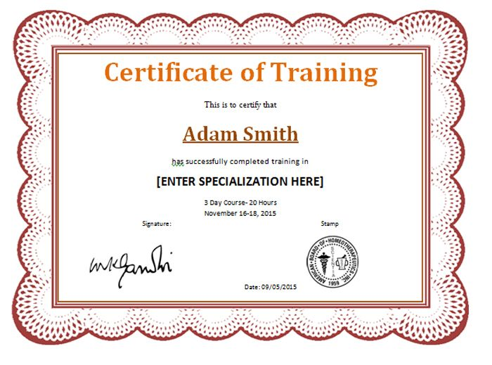 Award Certificate For Completion Of Training  Templates