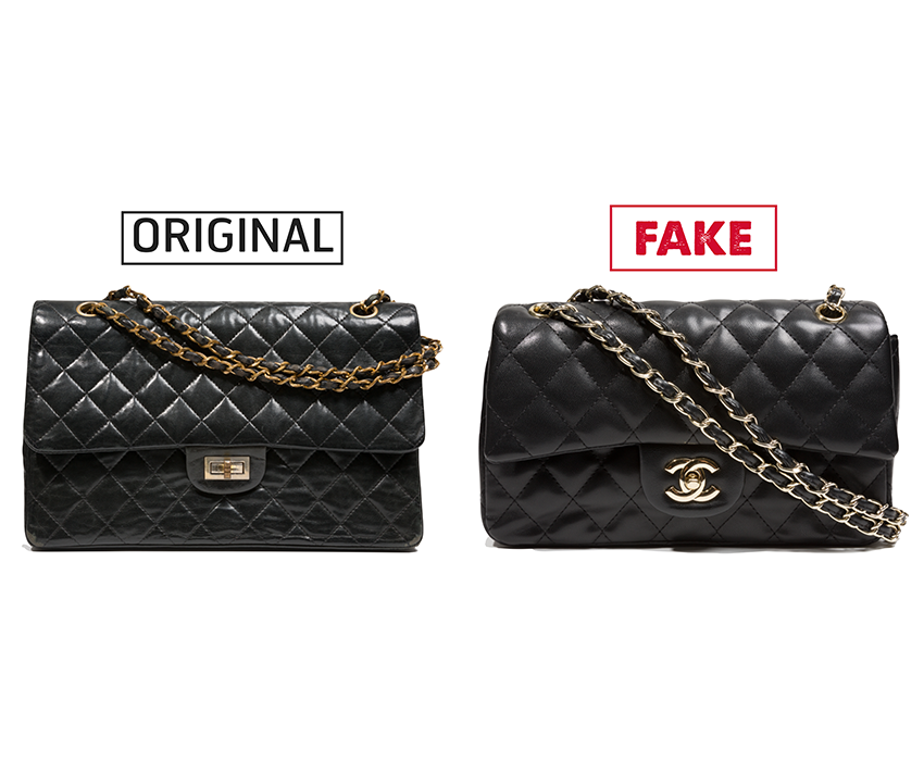 "54b6417042da Left: Gabrielle ""Coco"" Chanel 2.55 bag Leather, chain, circa 1965, France,  78.57.67, gift of Ethel Scull Right: Counterfeit Chanel 2.55 bag Vinyl,  metal, ..."